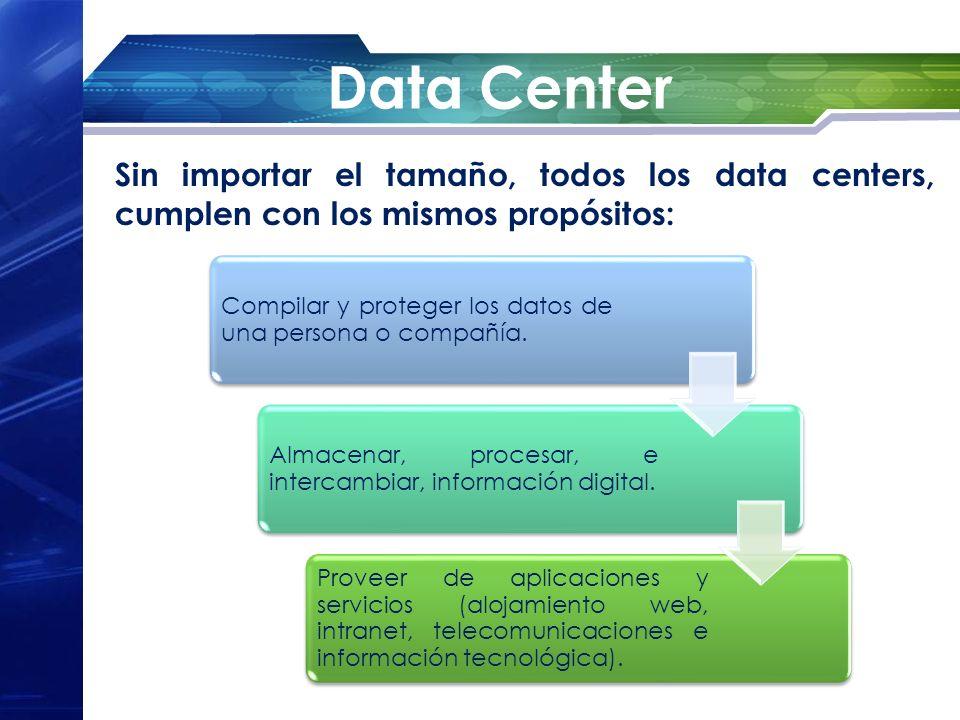 Data Center Sin importar el tamaño, todos los data centers, cumplen con los mismos propósitos: