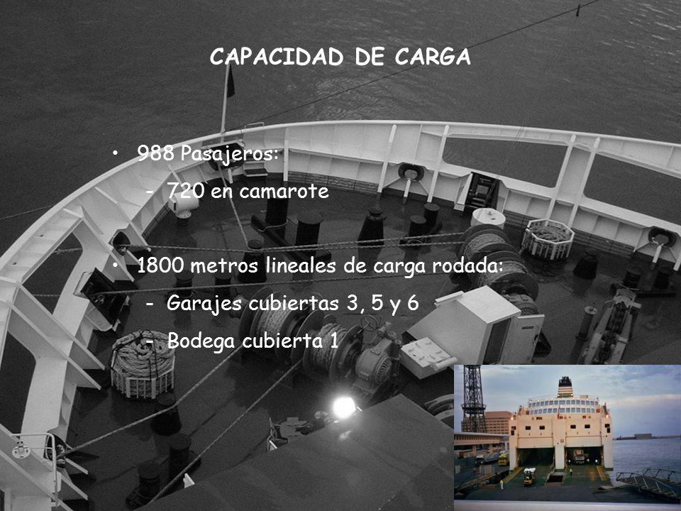 CAPACIDAD DE CARGA 988 Pasajeros: 720 en camarote