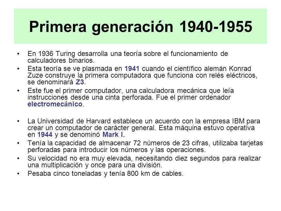 Primera generación 1940-1955 En 1936 Turing desarrolla una teoría sobre el funcionamiento de calculadores binarios.