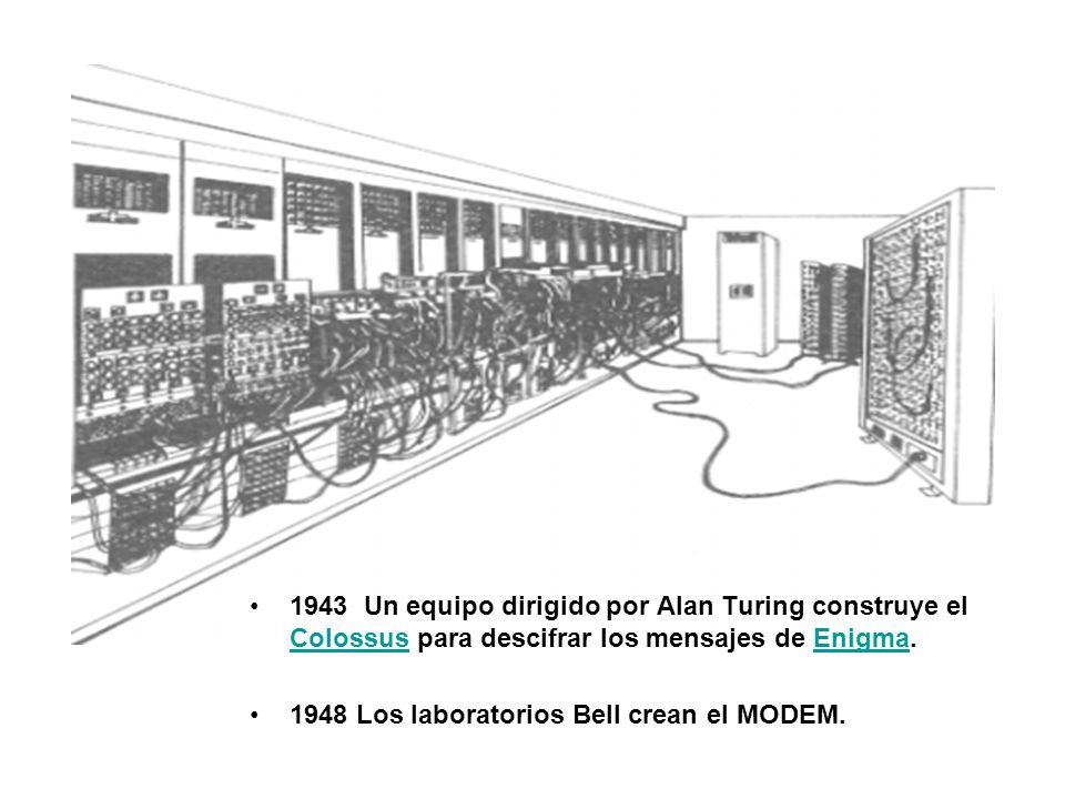 1943 Un equipo dirigido por Alan Turing construye el Colossus para descifrar los mensajes de Enigma.