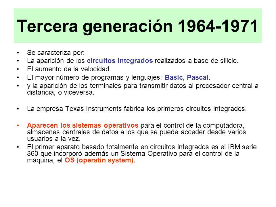 Tercera generación 1964-1971 Se caracteriza por: