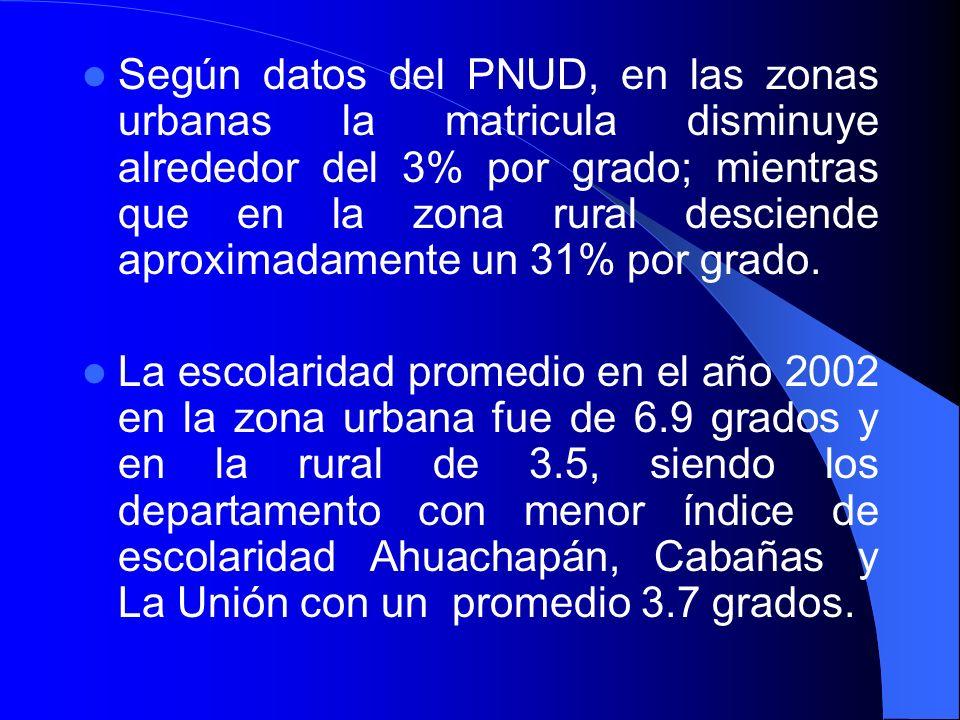 Según datos del PNUD, en las zonas urbanas la matricula disminuye alrededor del 3% por grado; mientras que en la zona rural desciende aproximadamente un 31% por grado.