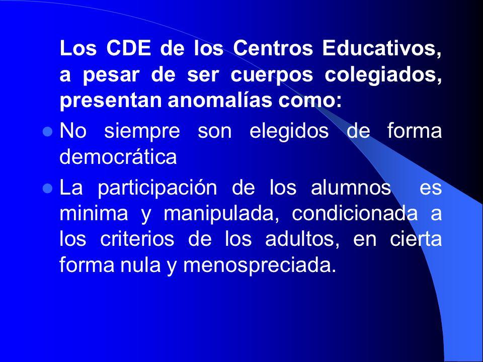 Los CDE de los Centros Educativos, a pesar de ser cuerpos colegiados, presentan anomalías como: