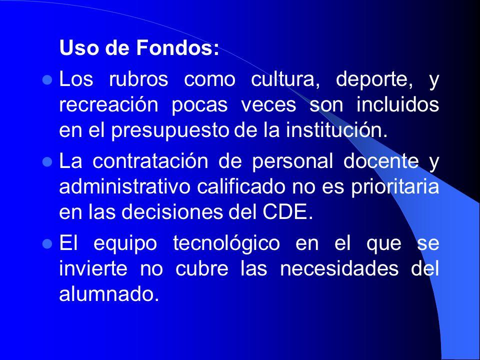Uso de Fondos:Los rubros como cultura, deporte, y recreación pocas veces son incluidos en el presupuesto de la institución.