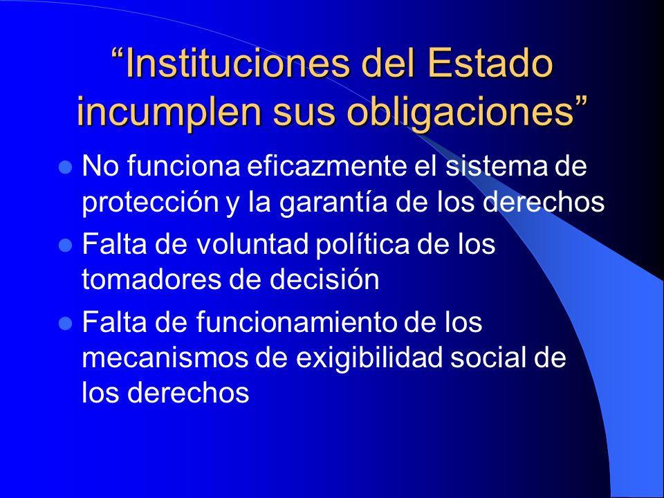 Instituciones del Estado incumplen sus obligaciones