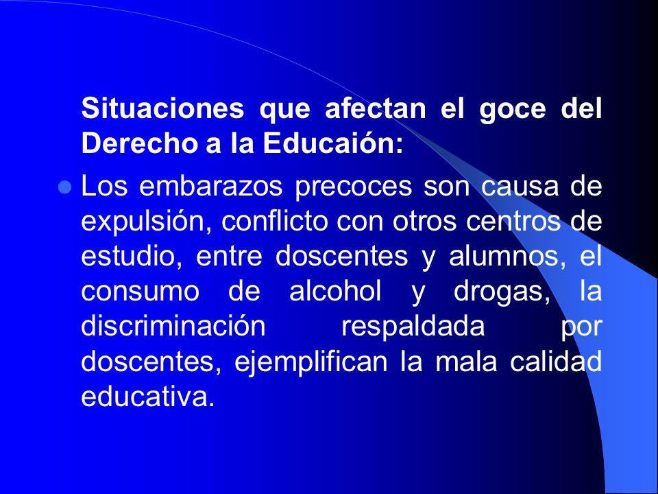 Situaciones que afectan el goce del Derecho a la Educaión: