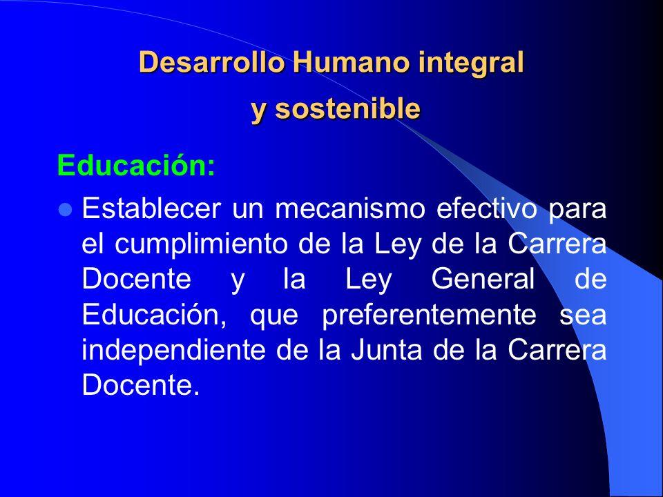 Desarrollo Humano integral y sostenible