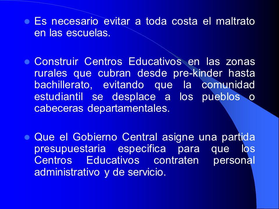 Es necesario evitar a toda costa el maltrato en las escuelas.