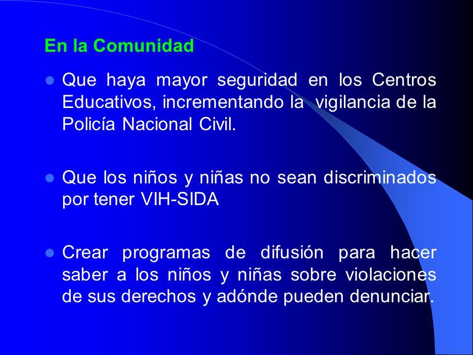 En la ComunidadQue haya mayor seguridad en los Centros Educativos, incrementando la vigilancia de la Policía Nacional Civil.