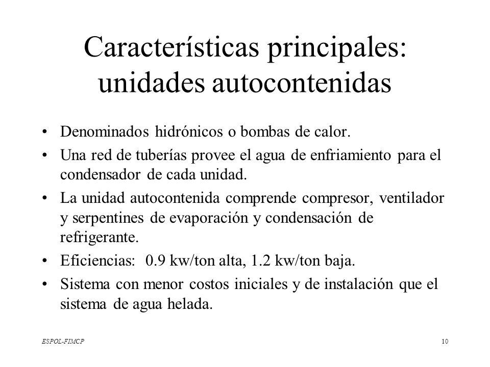 Características principales: unidades autocontenidas