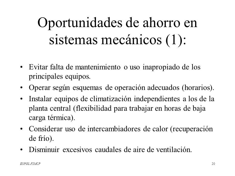 Oportunidades de ahorro en sistemas mecánicos (1):