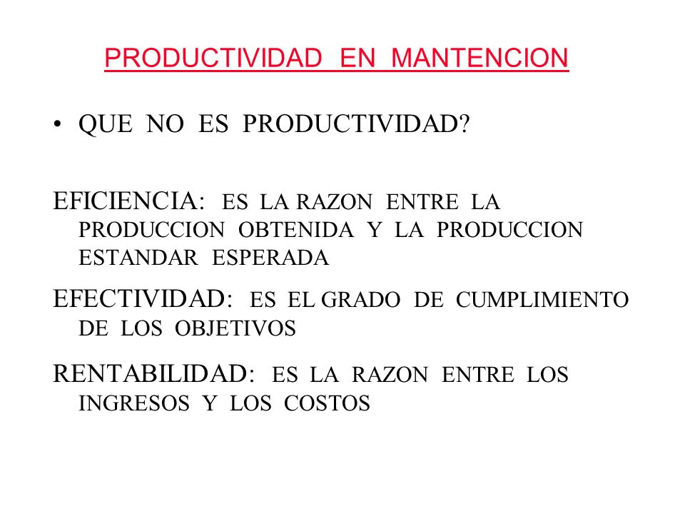 PRODUCTIVIDAD EN MANTENCION