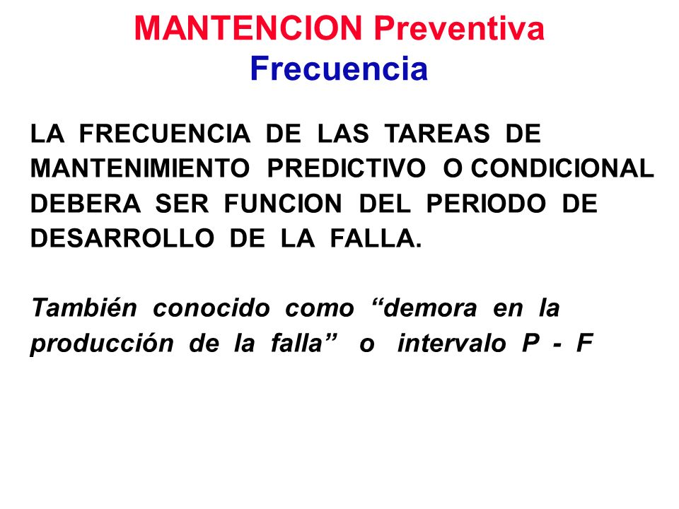 MANTENCION Preventiva Frecuencia