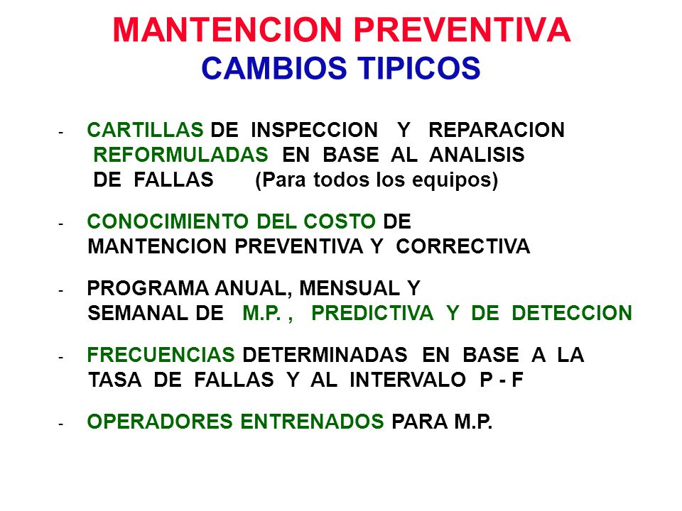 MANTENCION PREVENTIVA CAMBIOS TIPICOS
