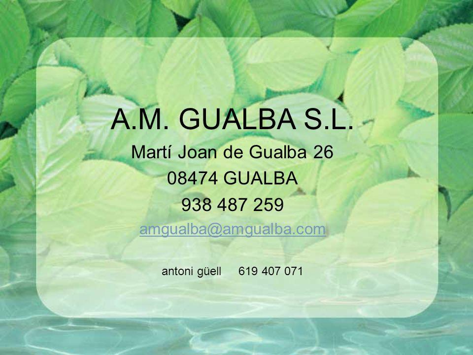 A.M. GUALBA S.L. Martí Joan de Gualba 26 08474 GUALBA 938 487 259