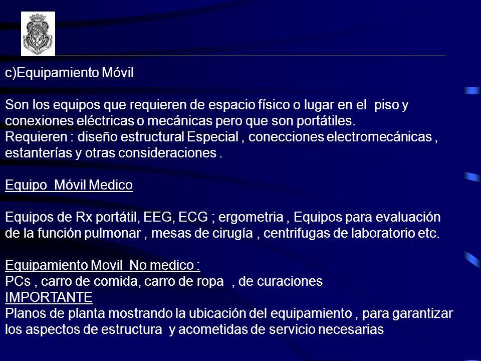 c)Equipamiento Móvil Son los equipos que requieren de espacio físico o lugar en el piso y conexiones eléctricas o mecánicas pero que son portátiles.