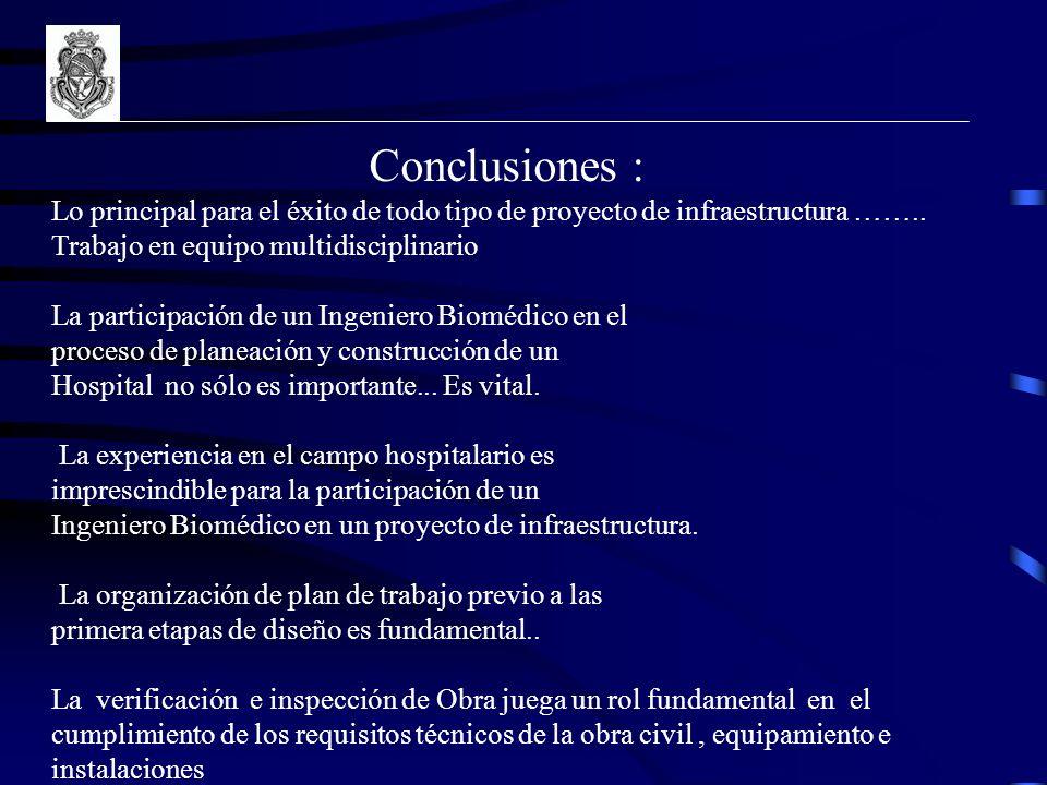 Conclusiones : Lo principal para el éxito de todo tipo de proyecto de infraestructura …….. Trabajo en equipo multidisciplinario.
