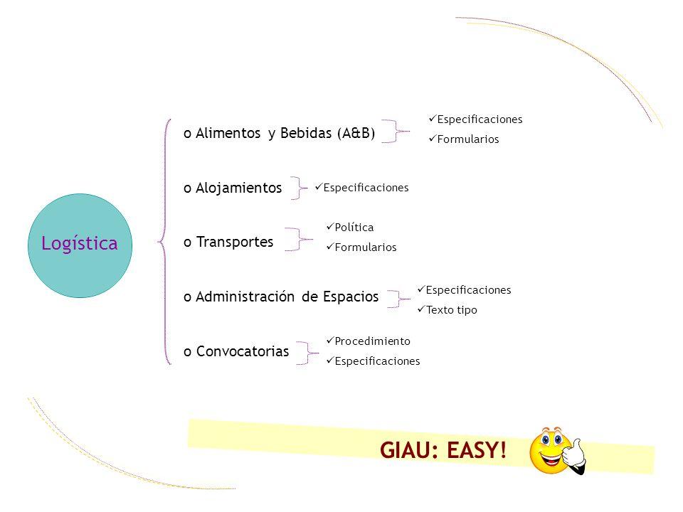 GIAU: EASY! Logística Alimentos y Bebidas (A&B) Alojamientos