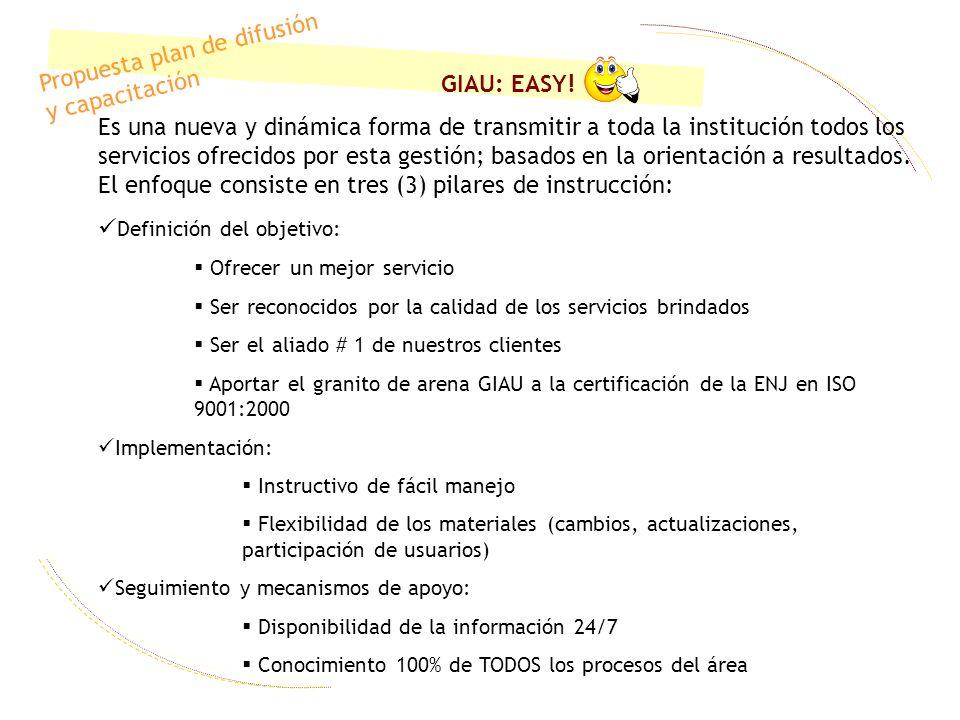 Propuesta plan de difusión y capacitación GIAU: EASY!