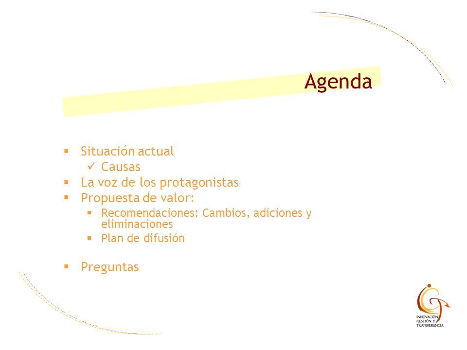 Agenda Situación actual Causas La voz de los protagonistas