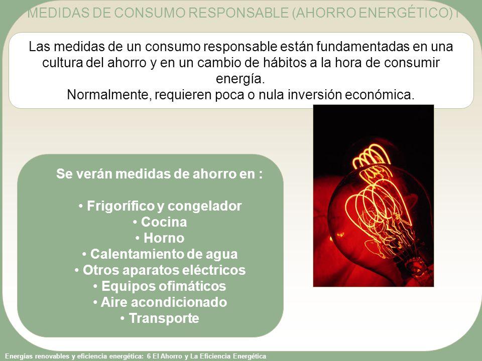 MEDIDAS DE CONSUMO RESPONSABLE (AHORRO ENERGÉTICO) I