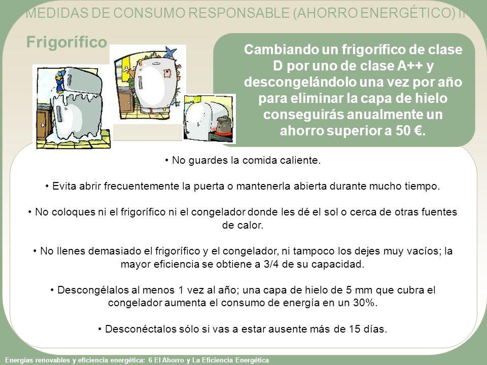 Frigorífico MEDIDAS DE CONSUMO RESPONSABLE (AHORRO ENERGÉTICO) II