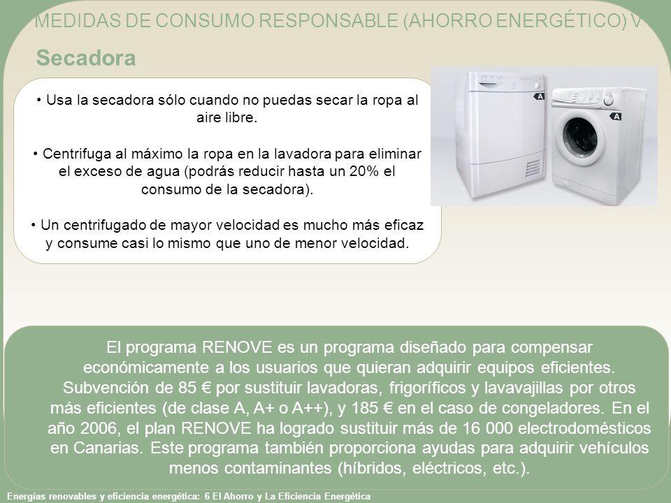 Secadora MEDIDAS DE CONSUMO RESPONSABLE (AHORRO ENERGÉTICO) V