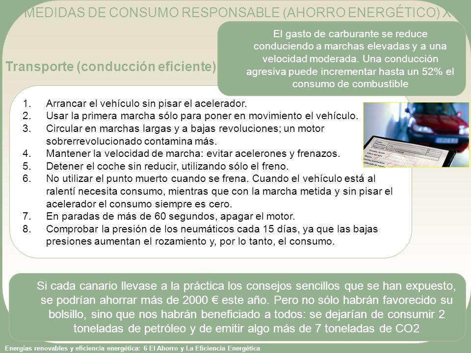 MEDIDAS DE CONSUMO RESPONSABLE (AHORRO ENERGÉTICO) X