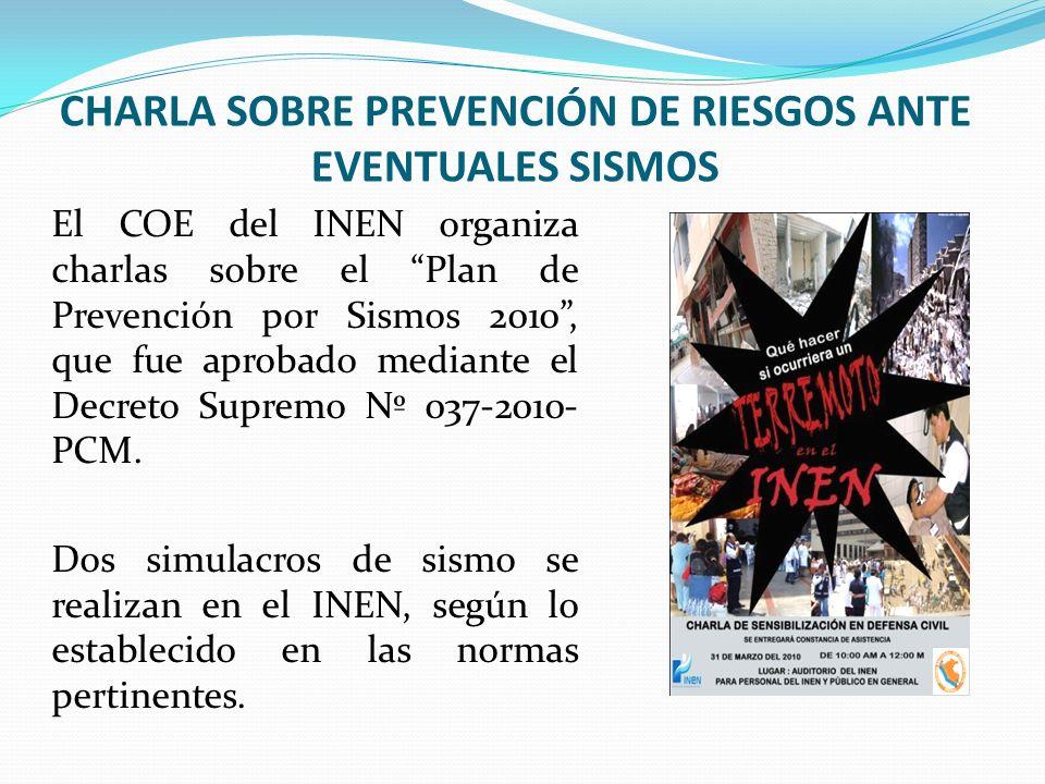 CHARLA SOBRE PREVENCIÓN DE RIESGOS ANTE EVENTUALES SISMOS