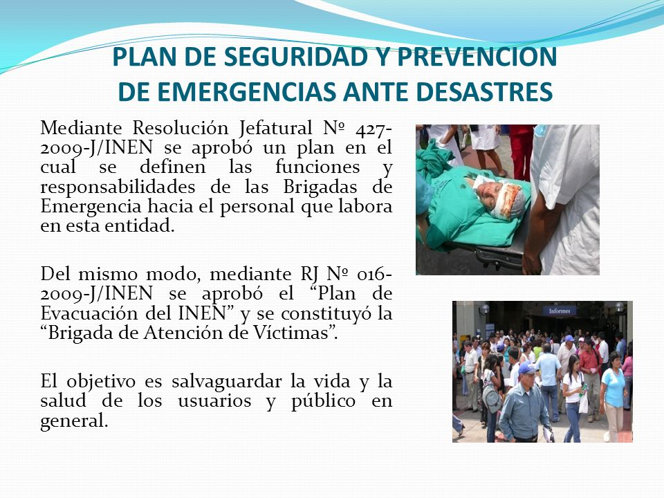 PLAN DE SEGURIDAD Y PREVENCION DE EMERGENCIAS ANTE DESASTRES