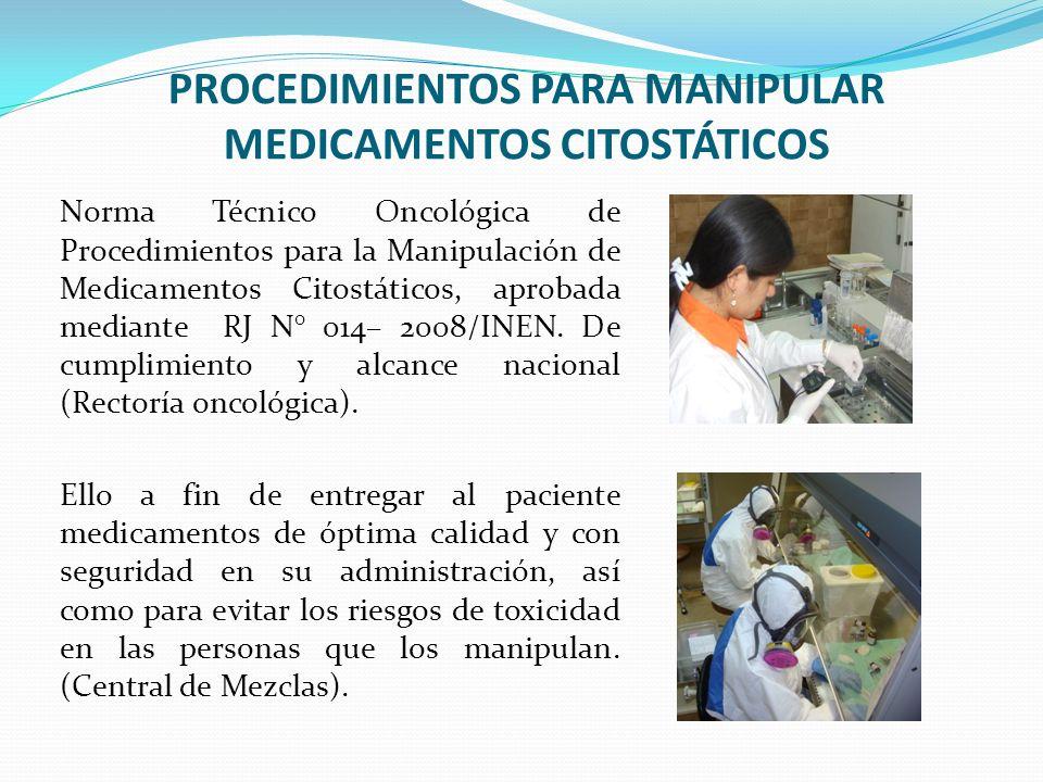 PROCEDIMIENTOS PARA MANIPULAR MEDICAMENTOS CITOSTÁTICOS
