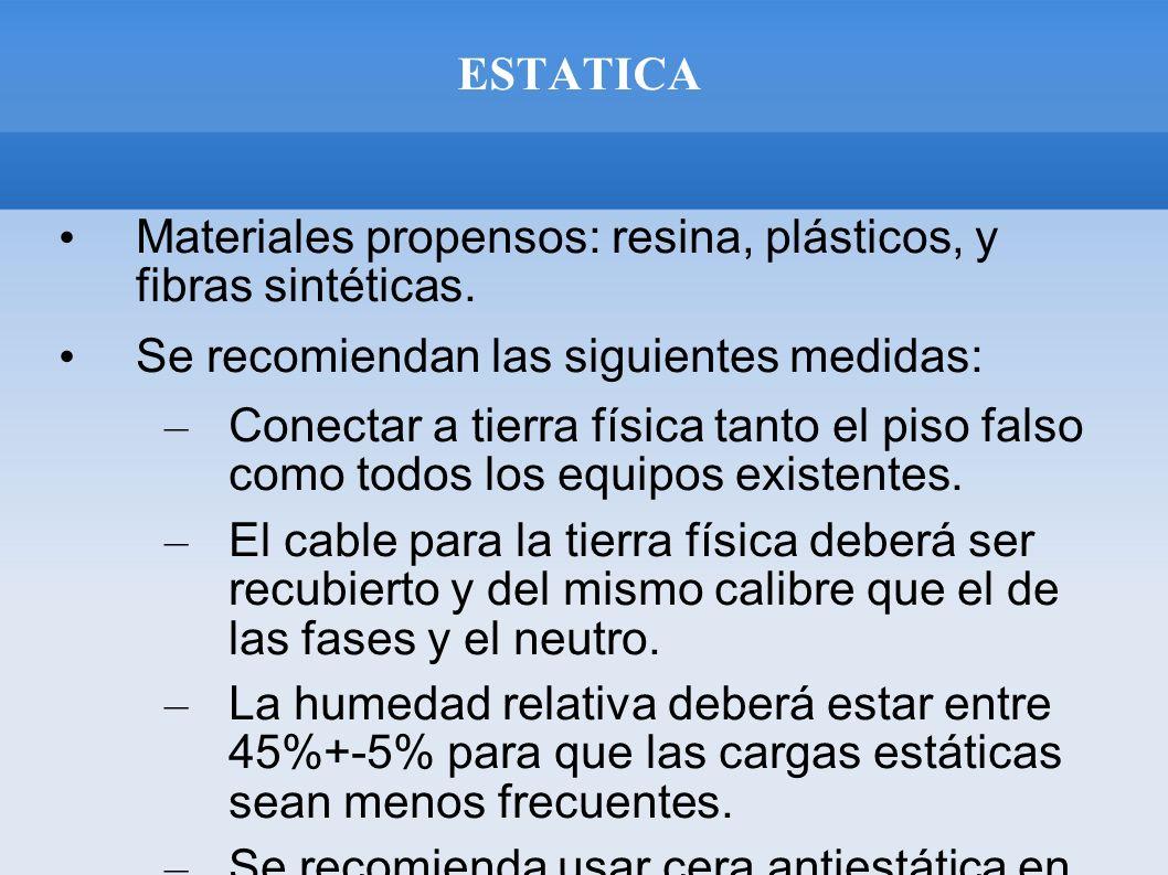 ESTATICA Materiales propensos: resina, plásticos, y fibras sintéticas. Se recomiendan las siguientes medidas: