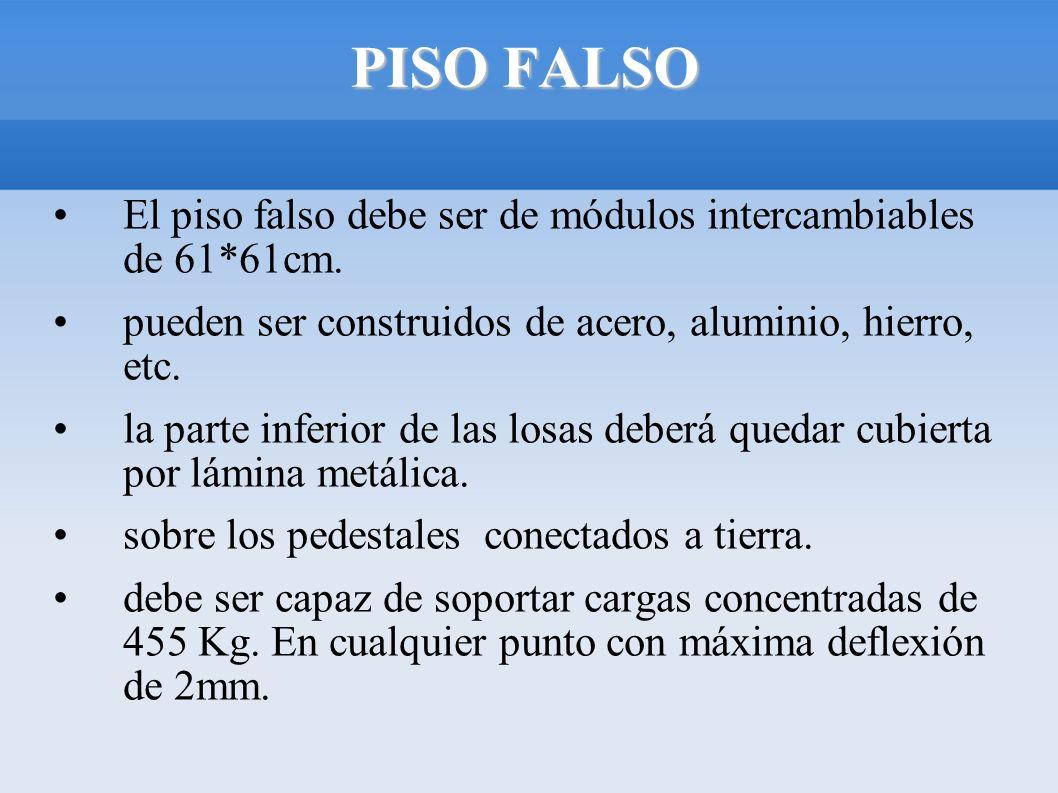 PISO FALSO El piso falso debe ser de módulos intercambiables de 61*61cm. pueden ser construidos de acero, aluminio, hierro, etc.