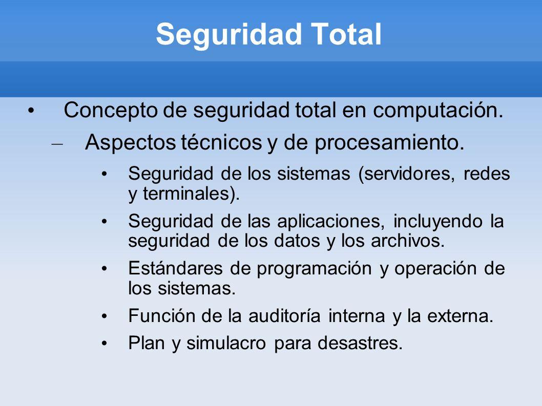 Seguridad Total Concepto de seguridad total en computación.