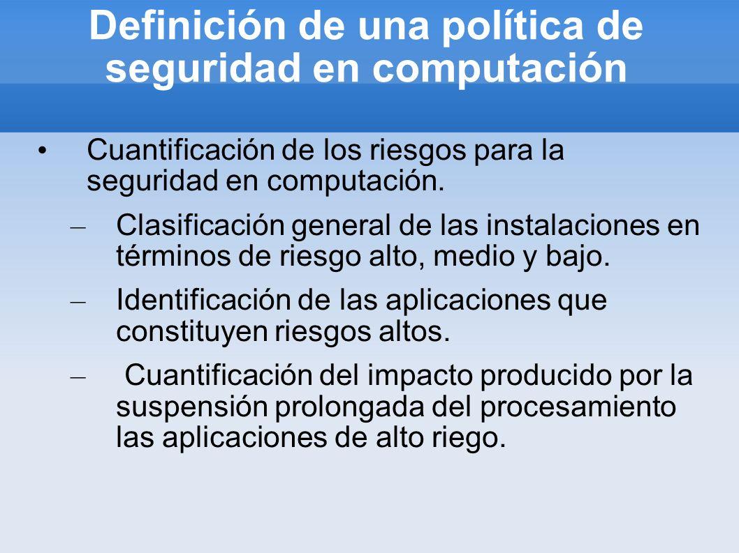 Definición de una política de seguridad en computación