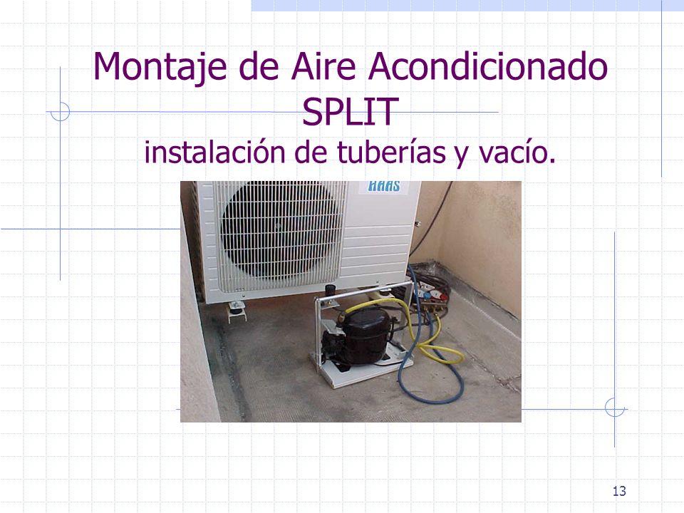 Montaje de Aire Acondicionado SPLIT instalación de tuberías y vacío.