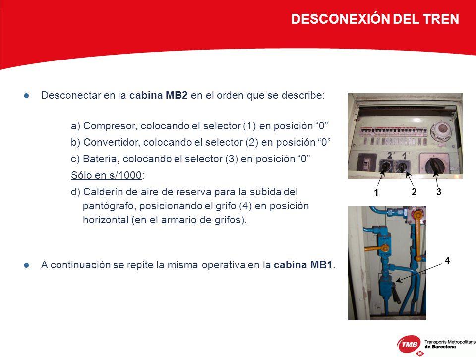DESCONEXIÓN DEL TREN Desconectar en la cabina MB2 en el orden que se describe: a) Compresor, colocando el selector (1) en posición 0