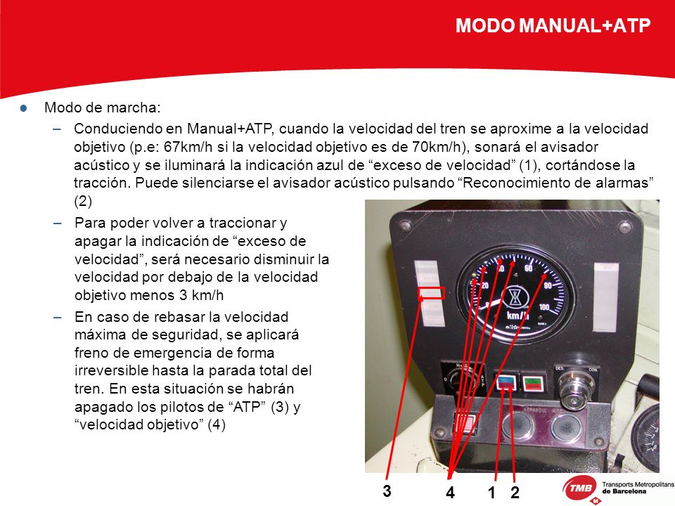 MODO MANUAL+ATP 1 3 4 2 Modo de marcha: