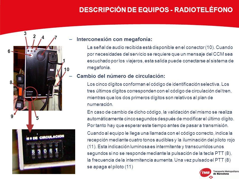 DESCRIPCIÓN DE EQUIPOS - RADIOTELÉFONO