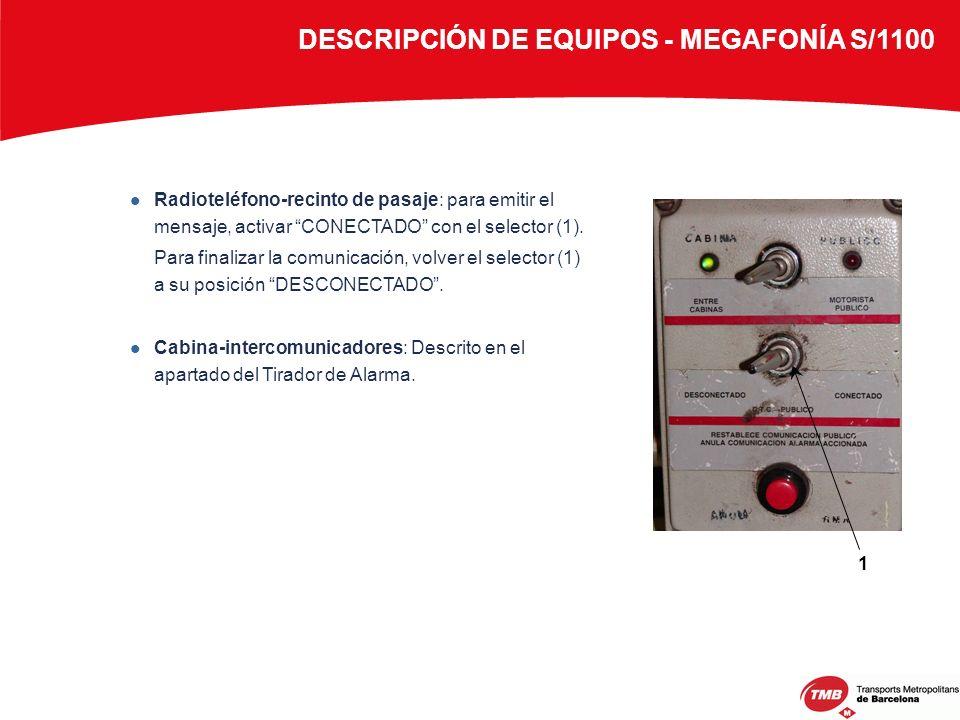 DESCRIPCIÓN DE EQUIPOS - MEGAFONÍA S/1100