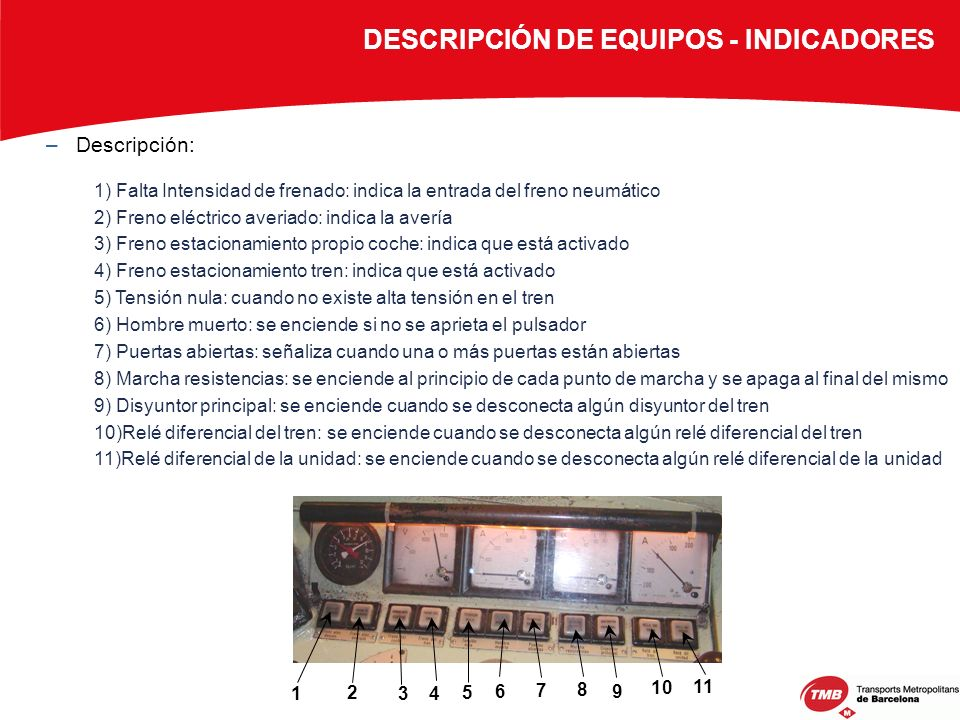 DESCRIPCIÓN DE EQUIPOS - INDICADORES