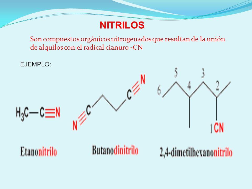 NITRILOS Son compuestos orgánicos nitrogenados que resultan de la unión de alquilos con el radical cianuro -CN.