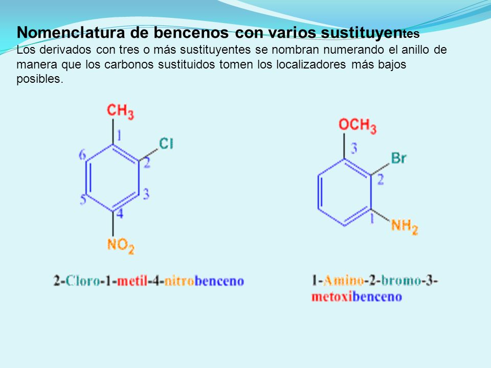 Nomenclatura de bencenos con varios sustituyentes