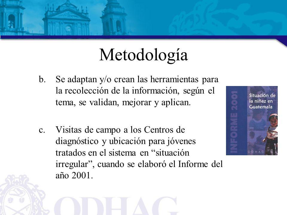 Metodología Se adaptan y/o crean las herramientas para la recolección de la información, según el tema, se validan, mejorar y aplican.