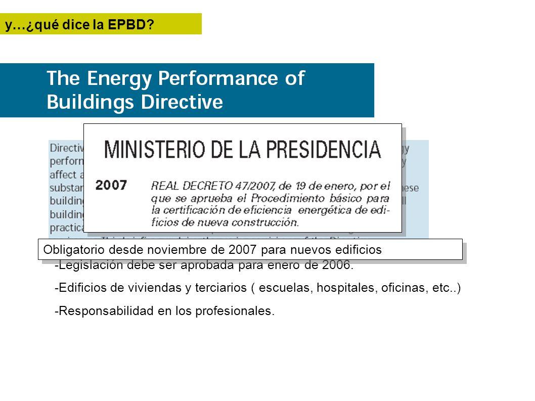 y…¿qué dice la EPBD Obligatorio desde noviembre de 2007 para nuevos edificios. -Legislación debe ser aprobada para enero de 2006.