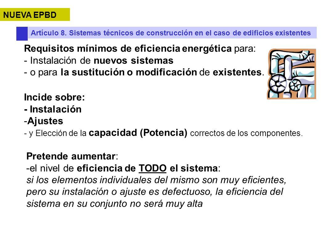 Requisitos mínimos de eficiencia energética para: