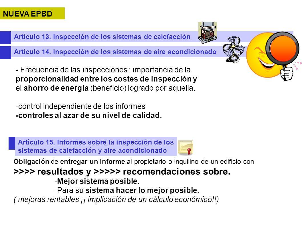 NUEVA EPBD Artículo 13. Inspección de los sistemas de calefacción. Artículo 14. Inspección de los sistemas de aire acondicionado.