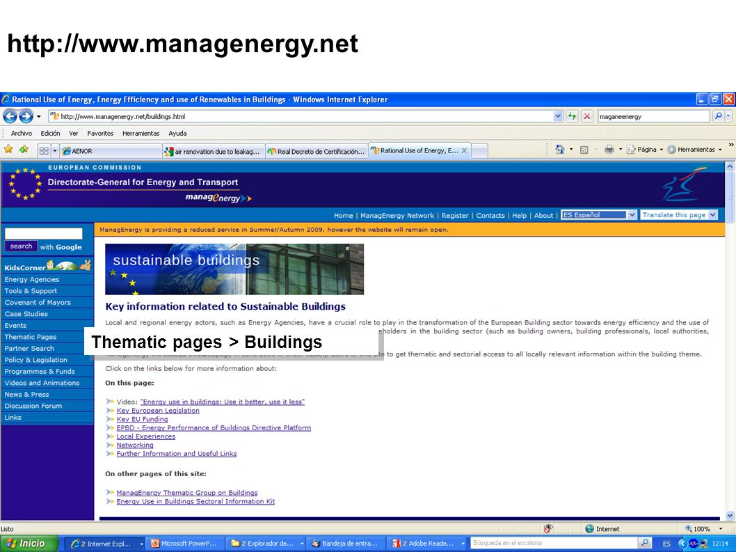 http://www.managenergy.net Thematic pages > Buildings