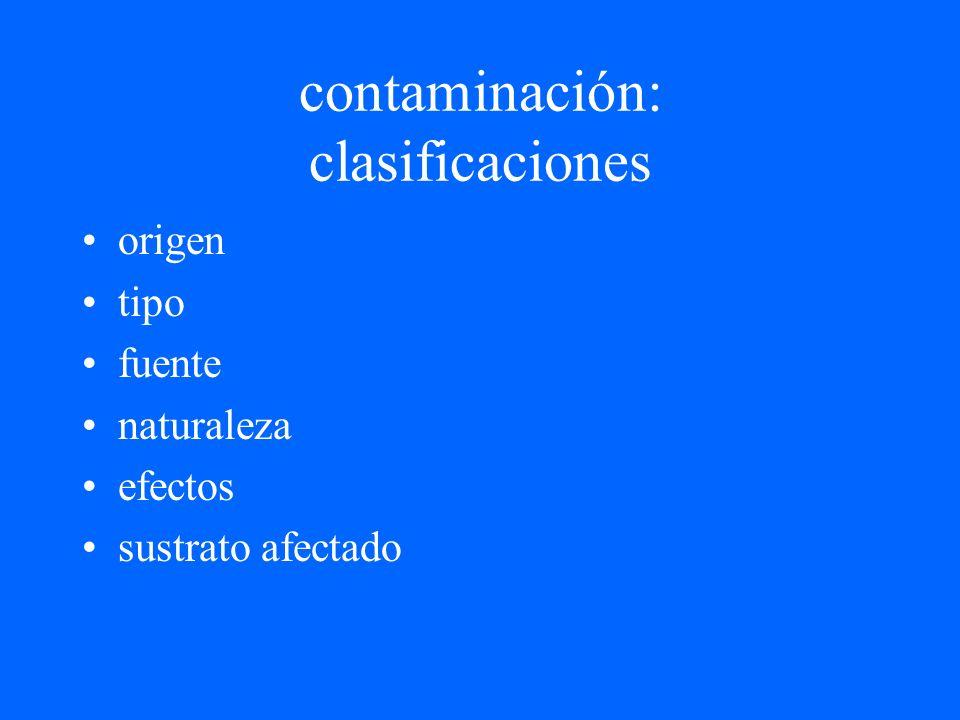 contaminación: clasificaciones