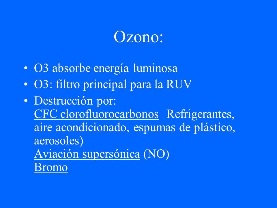 Ozono: O3 absorbe energía luminosa O3: filtro principal para la RUV